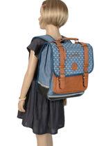 Backpack 2 Compartments Cameleon Blue vintage print girl VIG-SD38-vue-porte