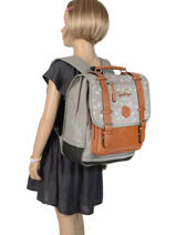 Backpack For Girls 2 Compartments Cameleon Gray vintage print girl VIG-SD38-vue-porte