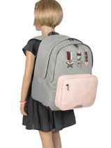 Backpack 2 Compartments Ikks Gray urban lab 63513-vue-porte