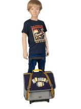 Wheeled Schoolbag 2 Compartments Ikks Black kings 42838-vue-porte