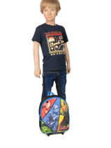 Backpack On Wheels 1 Compartment Avengers Multicolor quadri AVNI04-vue-porte