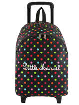 Backpack With Wheels 2 Compartments Little marcel Black raye 8875