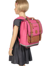 Backpack For Kids 2 Compartments Cameleon Pink vintage chine VIN-SD38-vue-porte