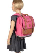 Backpack For Kids 2 Compartments Cameleon Pink vintage chine VIN-SD38-vue-porte