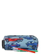 Pencil Case 2 Compartments Caramel et cie Blue belle rentree gars TDBL-G-vue-porte