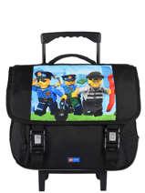 Schoolbag On Wheels 2 Compartments Lego Black city police chopper 10070-35