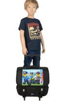 Schoolbag On Wheels 2 Compartments Lego Black city police chopper 10070-35-vue-porte