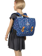 Schoolbag 2 Compartments With Matching Pencil Case Poids plume Blue liberty LIB1935-vue-porte