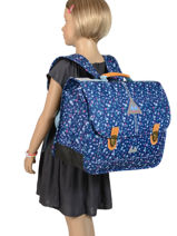 Schoolbag 2 Compartments With Matching Pencil Case Poids plume Blue liberty LIB1941-vue-porte