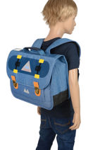Schoolbag 2 Compartments With Matching Pencil Case Poids plume Blue skate SKA1935-vue-porte