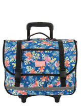 Schoolbag On Wheels 2 Compartments Rip curl Blue toucan flora LBPQA4