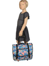 Schoolbag On Wheels 2 Compartments Rip curl Blue toucan flora LBPQA4-vue-porte
