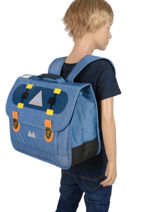 Schoolbag 2 Compartments With Matching Pencil Case Poids plume Blue skate SKA1938-vue-porte