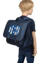 Satchel 2 Compartments Miniprix Blue school 1805B-vue-porte
