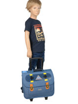 Wheeled Schoolbag With Wheels With Free Pencil Cas Poids plume Blue skate SKA1939-vue-porte