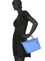 Longchamp Le pliage club Sacs porté main Bleu-vue-porte