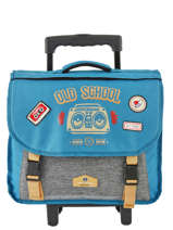 Wheeled Schoolbag 2 Compartments Reversible Pol fox Blue garcon G-TCA38R