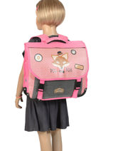 Satchel 2 Compartments Reversible Pol fox Pink fille F-CA38R-vue-porte