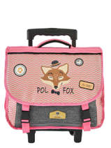Wheeled Schoolbag 2 Compartments Reversible Pol fox Pink fille F-TCA38R