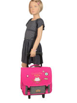 Wheeled Schoolbag 2 Compartments Pol fox Pink fille F-TRCA38-vue-porte