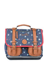 Wheeled Schoolbag For Girls 2 Compartments Cameleon Blue vintage print girl PBVGCA35