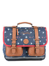 Wheeled Schoolbag For Girls 2 Compartments Cameleon Blue vintage print girl PBVGCA38