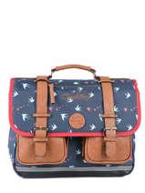 Wheeled Schoolbag For Girls 2 Compartments Cameleon Blue vintage print girl PBVGCA38