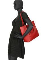 Shoulder Bag Foulonne Double Leather Lancaster Red foulonne double 470-21-vue-porte