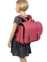 Satchel 2 Compartments Own stuff Pink satchel OS048-vue-porte