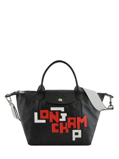Longchamp Le pliage cuir lgp Sacs porté main Rose