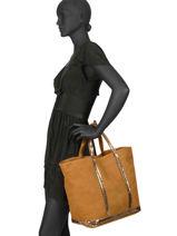 Le Cabas Moyen+ Cuir Nubuck Pailettes Vanessa bruno Marron cabas cuir 21V40414-vue-porte