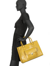 Leather Satchel Croco Milano Yellow CR19061-vue-porte