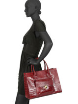 Leather Satchel Croco Milano Red CR19061-vue-porte