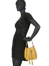 Leather Mini Bucket Bag Caviar Milano Yellow CA19042-vue-porte