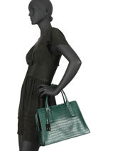 Leather Satchel Darwin Etrier Green darwin EDAR02-vue-porte