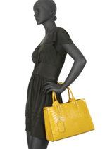 Leather Croco Tote Bag Milano Yellow CR16062-vue-porte