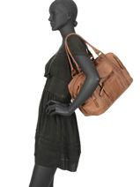 Shoulder Bag Line Leather Basilic pepper Brown line BLIN01-vue-porte