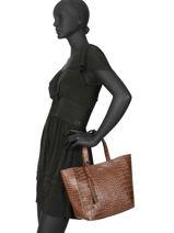 Top Handle Le Cabas Parisien Leather Loxwood Brown le cabas parisien 3162CROC-vue-porte