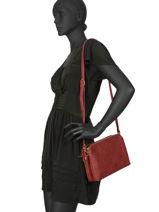 Leather Anael Crossbody Bag Nat et nin Red vintage NAEL-vue-porte