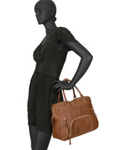 Shopping Bag Vintage Leather Nat et nin Brown vintage MACY-vue-porte