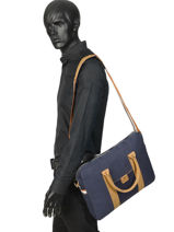 "Cotton Laptop Bag 15"" Faguo Blue cotton 19LU0143-vue-porte"