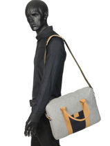 "Wool Laptop Bag 15"" Faguo Gray wool 19LU0403-vue-porte"