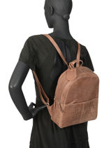 Leather About Ally Backpack Burkely Brown about ally 545229-vue-porte