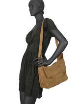 Leather Messenger Bag Bonny Folk Gerard darel Brown folk DKS23407-vue-porte