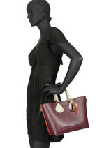 Small Leather Izy Tote Bag Lancel Red izy A10238-vue-porte