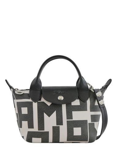 Longchamp Le mini pli cuir max impr lgp Handbag Beige