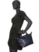 Longchamp Le pliage cuir webbing Handbag Blue-vue-porte