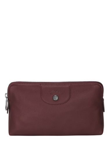 Longchamp Le pliage cuir Clutches Red-vue-porte