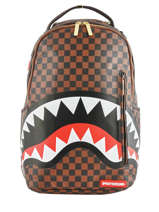 "Backpack Sharks In Paris With 15"" Laptop Sleeve Sprayground Brown ultimate edition 910B"