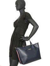 Large Iconic Tommy Satchel Tommy hilfiger Blue iconic tommy AW07478-vue-porte